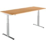 Schreibtisch DRIVE UP 2, Ansatz rechts ,T-Fuß, Freiform, höhenverstellbar, Buche/weißalu