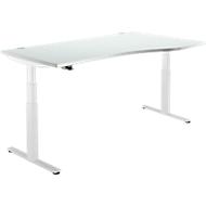 Schreibtisch DRIVE UP 2, Ansatz rechts ,T-Fuß, Freiform, höhenverstellbar, lichtgrau/weiß