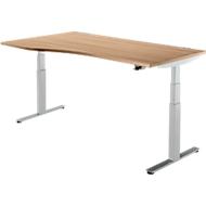 Schreibtisch DRIVE UP 2, T-Fuß, Freiform, elektr. höhenverstellbar, Kirsche Romana/weißalu