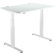 Schreibtisch DRIVE UP 2, T-Fuß, Rechteck, 2-stufig elektrisch höhenverstellbar, B 1200 mm, lichtgrau/weiß