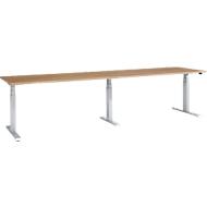 Schreibtisch, elektrisch höhenverstellbar, Rechteck, T-Fuß, B 3200 x T 800 x H 640-1300 mm, Kirsch-Romana/weißalu