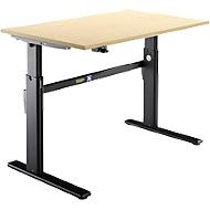 Schreibtisch, elektrisch höhenverstellbar, Rechteckform, C-Fuß, ahorn/schwarz, B 1200 mm