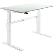 Schreibtisch, elektrisch höhenverstellbar, Rechteckform, C-Fuß, lichtgrau/weiß, B 1200 mm