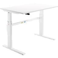 Schreibtisch, elektrisch höhenverstellbar, Rechteckform, C-Fuß, weiß/weiß, B 1200 mm