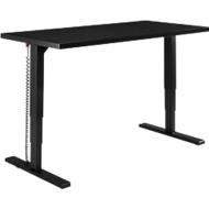 Schreibtisch Elements, elektrisch höhenverstellbar, B 1600 mm, T-Fuß, schwarz