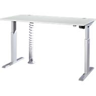 Schreibtisch ERGO-T, 1-stufig elektr. höhenverst., Rechteck, T-Fuß, B 1600 x T 800 x H 725-1185 mm, lichtgrau + Kabelspirale