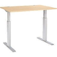 Schreibtisch ERGO-T, T-Fuß, 1-stufig elektr. höhenverstellbar, B 1200, 1600, 1800 mm, Ahorn-Dekor