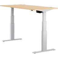 Schreibtisch ERGO-T, T-Fuß, 2-stufig elektr. höhenverstellbar, B 1200, 1600, 1800 mm, Ahorn-Dekor