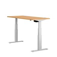 Schreibtisch ERGO-T, T-Fuß, 2-stufig elektr. höhenverstellbar, B 1200, 1600, 1800 mm, Buche-Dekor