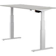 Schreibtisch ERGO-T, T-Fuß, 2-stufig elektr. höhenverstellbar, B 1200, 1600, 1800 mm, lichtgrau