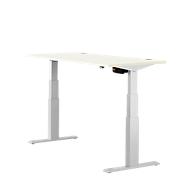 Schreibtisch ERGO-T, T-Fuß, 2-stufig elektr. höhenverstellbar, B 1200, 1600, 1800 mm, weiß