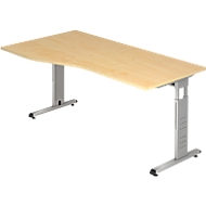 Schreibtisch Freiform ULM, li. od. rechts, B 1800 x T 800/1000 x H 650-850 mm, Ahorn-Dekor