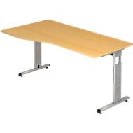 Schreibtisch Freiform ULM, li. od. rechts, B 1800 x T 800/1000 x H 650-850 mm, Buche-Dekor