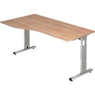 Schreibtisch Freiform ULM, li. od. rechts, B 1800 x T 800/1000 x H 650-850 mm, Nussbaum-Dekor