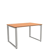 Schreibtisch, höheneinstellbar, Rechteckform, Bügelfuß, Breite 1200 mm, Buche-Dekor