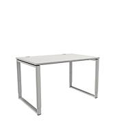 Schreibtisch, höheneinstellbar, Rechteckform, Bügelfuß, Breite 1200 mm, lichtgrau