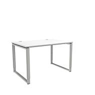 Schreibtisch, höheneinstellbar, Rechteckform, Bügelfuß, Breite 1200 mm, weiß