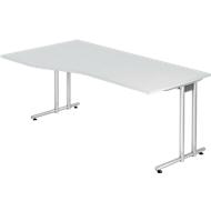 Schreibtisch JENA, C-Fuß, Freiform, B 1800 x T 1000 x H 720 mm, lichtgrau