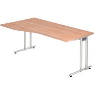 Schreibtisch JENA, C-Fuß, Freiform, B 1800 x T 1000 x H 720 mm, Nussbaum-Dekor