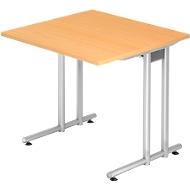 Schreibtisch JENA, C-Fuß, Rechteck, B 800 x T 800 x H 720 mm, Gestell alusilber, Buche-Dekor
