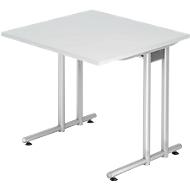 Schreibtisch JENA, C-Fuß, Rechteck, B 800 x T 800 x H 720 mm, Gestell alusilber, lichtgrau