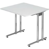 Schreibtisch JENA, C-Fuß, Rechteck, B 800 x T 800 x H 720 mm, Gestell verchromt, lichtgrau