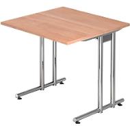 Schreibtisch JENA, C-Fuß, Rechteck, B 800 x T 800 x H 720 mm, Gestell verchromt, Nussbaum-Dekor