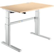 Schreibtisch Komfort, 2-stufig elektrisch höhenverstellbar, B 1200 mm, Ahorn/weißalu