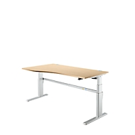 Schreibtisch Komfort, Ansatz links, 2-stufig elektrisch höhenverstellbar, B 1800 mm, Ahorn/weißalu