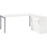 Schreibtisch LOGIN, 1600 mm + Anstellschiebetürenschrank LOGIN SET, weiß