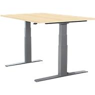 Schreibtisch LOGIN, elektrisch höhenverstellbar, T-Fuß-Gestell, B 1200 x T 800 x H 645 - 1290 mm, Ahorn-Dekor