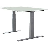 Schreibtisch LOGIN, elektrisch höhenverstellbar, T-Fuß-Gestell, B 1200 x T 800 x H 645 - 1290 mm, lichtgrau