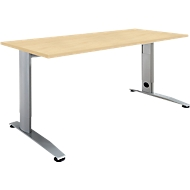 Schreibtisch LOGIN, höhenverstellbar, C-Fuß, Rechteck, B 1200 x T 800 x H 660 - 820 mm, Ahorn