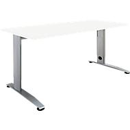 Schreibtisch LOGIN, höhenverstellbar, C-Fuß, Rechteck, B 1200 x T 800 x H 660 - 820 mm, weiß