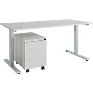 Schreibtisch m. Rollcontainer, T-Fuß, Stahl, lichtgrau, Holzplatte B 1600 x T 800 x H 735 mm, 3 Schübe