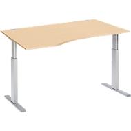 Schreibtisch mit Ansatz ERGO-T, T-Fuß, Ansatz links, einst. elektr. höhenverstellbar, B 1800 mm, Ahorn-Dekor