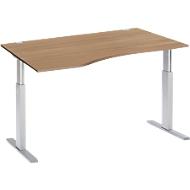 Schreibtisch mit Ansatz ERGO-T, T-Fuß, Ansatz links, einst. elektr. höhenverstellbar, B 1800 mm, Kirsche Romana-Dekor