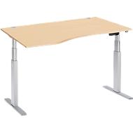 Schreibtisch mit Ansatz ERGO-T, T-Fuß, Ansatz links, zweist. elektr. höhenverstellbar, B 1800 mm, Ahorn-Dekor