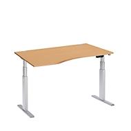 Schreibtisch mit Ansatz ERGO-T, T-Fuß, Ansatz links, zweist. elektr. höhenverstellbar, B 1800 mm, Buche-Dekor