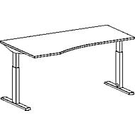 Schreibtisch mit Ansatz ERGO-T, T-Fuß, Ansatz links, zweist. elektr. höhenverstellbar., B 1800 mm, lichtgrau