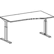 Schreibtisch mit Ansatz ERGO-T, T-Fuß, Ansatz rechts, manuell höhenverstellbar, B 1800 x T 1000/800 mm , lichtgrau