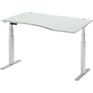 Schreibtisch mit Ansatz ERGO-T, T-Fuß, Ansatz rechts, zweist. elektr. höhenverstellbar, B 1800 mm, lichtgrau