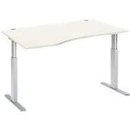 Schreibtisch mit Ansatz links ERGO-T, T-Fuß, manuell höhenverstellbar durch Imbusschlüssel, B 1800 mm, weiß
