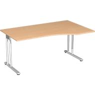 Schreibtisch mit Ansatz PALENQUE, C-Fuß, Freiform, Ansatz rechts, B 1800 x T 800/1000 x H 720 mm, Buche-Dekor