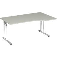 Schreibtisch mit Ansatz PALENQUE, C-Fuß, Freiform, Ansatz rechts, B 1800 x T 800/1000 x H 720 mm, lichtgrau