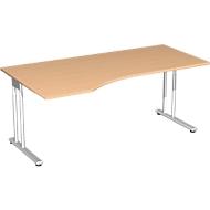 Schreibtisch mit Ansatz PALENQUE, C-Fuß, Freiform, links, B 1800 x T 1000/800 x H 680-820 mm, Buche-Dekor
