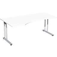 Schreibtisch mit Ansatz PALENQUE, C-Fuß, Freiform, links, B 1800 x T 1000/800 x H 680-820 mm, weiß