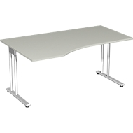 Schreibtisch mit Ansatz PALENQUE, C-fuß, Freiform, links, B 1800 x T 1000/800 x H 720 mm, lichtgrau
