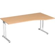 Schreibtisch mit Ansatz PALENQUE, C-Fuß, Freiform, manuelle Höhenverstellung, Ansatz rechts, B 1800 x T 800/1000 x H 680-820 mm, Buche-Dekor