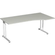 Schreibtisch mit Ansatz PALENQUE, C-Fuß, Freiform, manuelle Höhenverstellung, Ansatz rechts, B 1800 x T 800/1000 x H 680-820 mm, lichtgrau